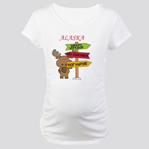 Alaska Moose What Way To The Nor Maternity T-Shirt
