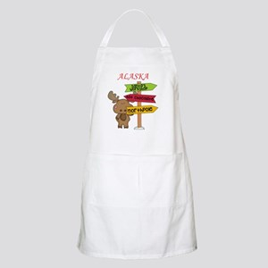 Alaska Moose What Way To The North Pole Apron
