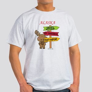 Alaska Moose What Way To The North P Light T-Shirt