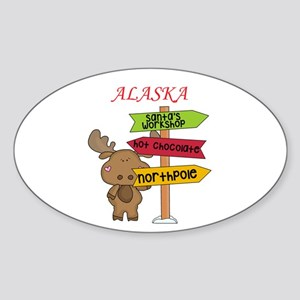 Alaska Moose What Way To The North Pole Sticker