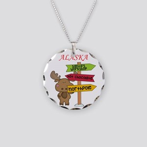 Alaska Moose What Way To The Necklace Circle Charm