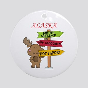 Alaska Moose What Way To The North Round Ornament