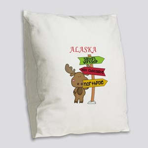 Alaska Moose What Way To The N Burlap Throw Pillow