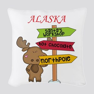 Alaska Moose What Way To The N Woven Throw Pillow
