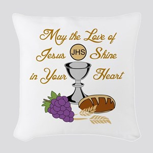 THE LOVE OF JESUS Woven Throw Pillow