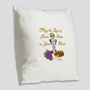 THE LOVE OF JESUS Burlap Throw Pillow
