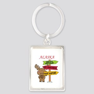 Alaska Moose What Way To The North Pole Keychains
