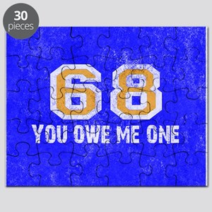 Sixty Eight You Owe Me One Blue White Orang Puzzle