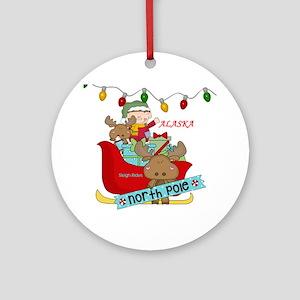 Alaska North Pole Sleigh Rides Round Ornament