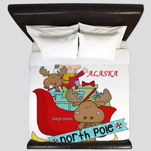 Alaska North Pole Sleigh Rides King Duvet