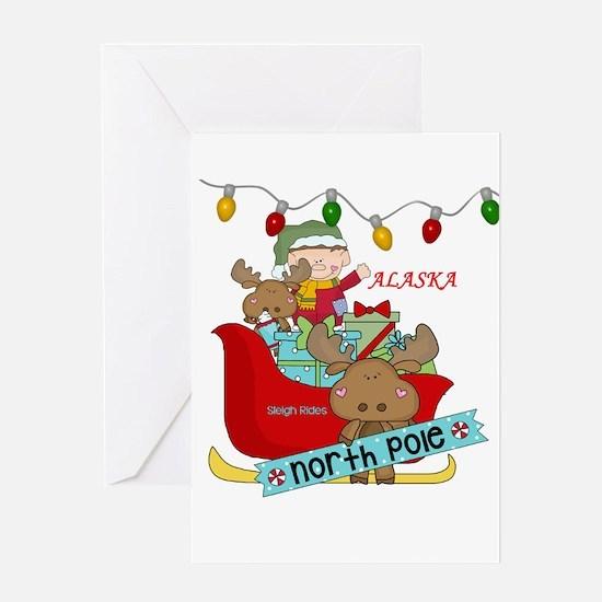 Alaska North Pole Sleigh Rides Greeting Cards