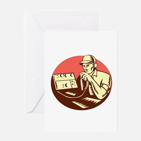 Ham Radio Operator Circle Woodcut Greeting Cards