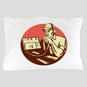 Ham Radio Operator Circle Woodcut Pillow Case
