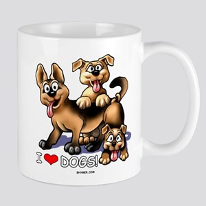 I Love Dogs Stainless Steel Travel Mugs