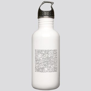 Silver Glitter Sports Water Bottle