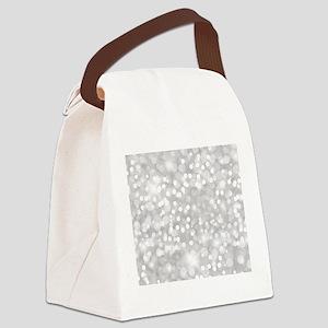 Silver Glitter Canvas Lunch Bag
