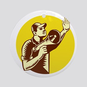 Worker Holding Megaphone Circle Woodcut Round Orna