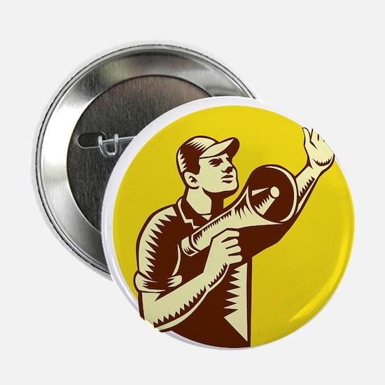 "Worker Holding Megaphone Circle Woodcut 2.25"" Butt"