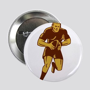 "Rugby Player Running Ball Woodcut 2.25"" Button (10"