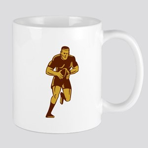 Rugby Player Running Ball Woodcut Mugs