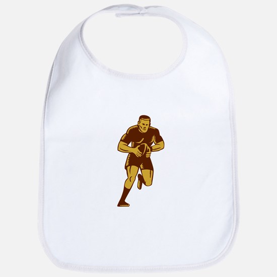 Rugby Player Running Ball Woodcut Bib