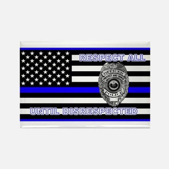 Police Flag-Blue-Respect Until Magnets