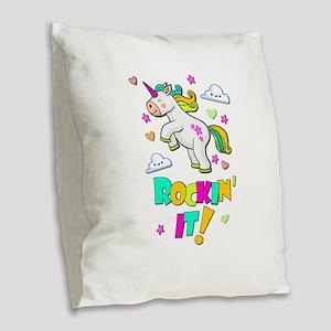 Dancing Unicorn Burlap Throw Pillow