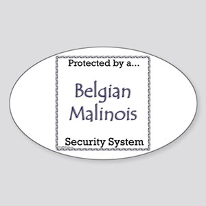 Malinois Security Oval Sticker