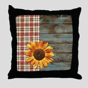 primitive country plaid burlap sunflo Throw Pillow