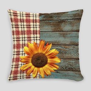 primitive country plaid burlap sun Everyday Pillow