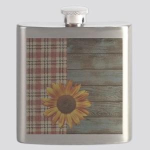 primitive country plaid burlap sunflower Flask