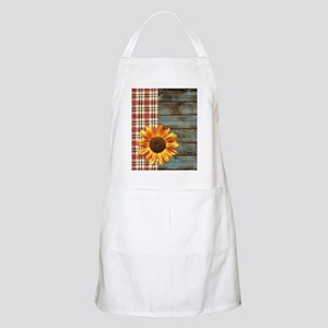 primitive country plaid burlap sunflower Apron
