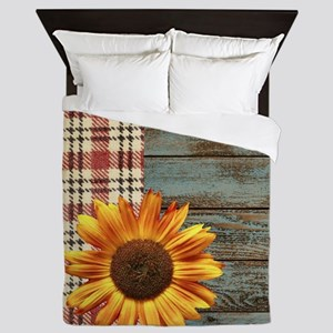 primitive country plaid burlap sunflow Queen Duvet