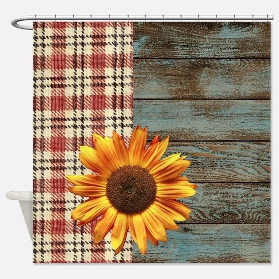 primitive country plaid burlap sunf Shower Curtain