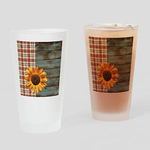 primitive country plaid burlap sunf Drinking Glass