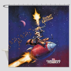 GOTG Comic Rocket Painting Shower Curtain
