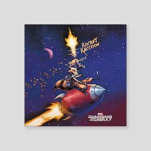 "GOTG Comic Rocket Painting Square Sticker 3"" x 3"""