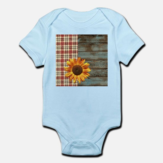 primitive country plaid burlap sunflower Body Suit