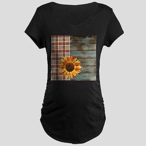 primitive country plaid burlap s Maternity T-Shirt
