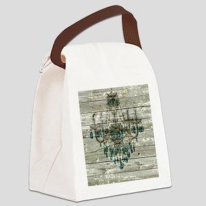shabby chic barn vintage chandeli Canvas Lunch Bag