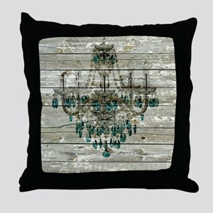 shabby chic barn vintage chandelier Throw Pillow