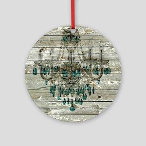 shabby chic barn vintage chandelier Round Ornament