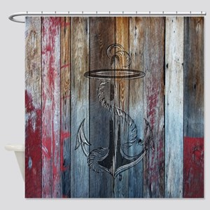 Vintage Anchor Rustic Wood Shower Curtain