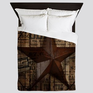 primitive  texas lone star cowboy Queen Duvet