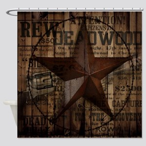 primitive  texas lone star cowboy Shower Curtain
