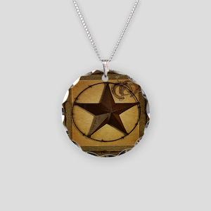 primitive  texas lone star c Necklace Circle Charm