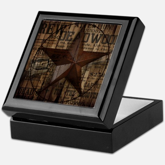 primitive  texas lone star cowboy Keepsake Box