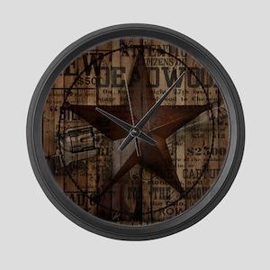 primitive  texas lone star cowboy Large Wall Clock