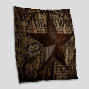primitive  texas lone star cow Burlap Throw Pillow