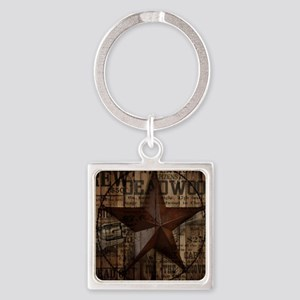primitive  texas lone star cowboy Square Keychain